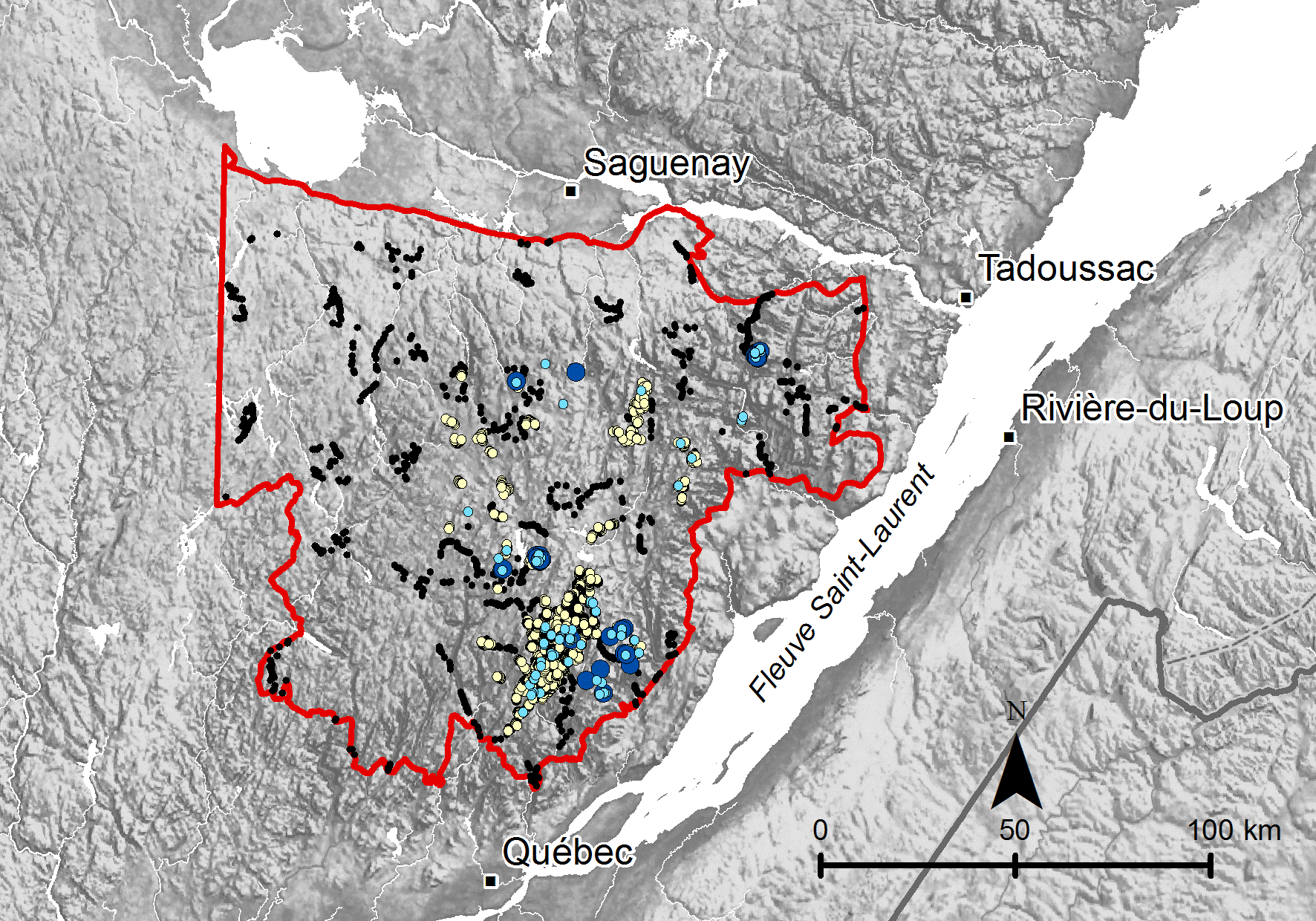 Map Of Canada Laurentain Highlandw Fig. 1. Study area, delimited by the red line, in the Laurentian