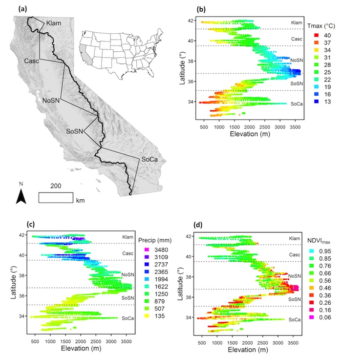Fig Relationships Of Environmental Variables With Latitude And - California latitude